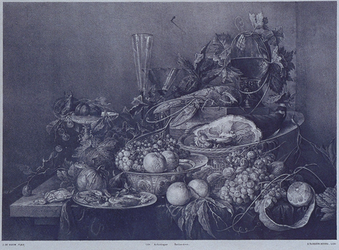 XXI-44 Steendruk van een schilderij van J. de Ham voorstellende een stilleven (verbrand in het Museum Boymans in 1864).