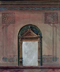XXI-9-1 Ontwerp voor het schilderwerk van de toegang tot het Archiefgebouw aan de Mathenesserlaan.