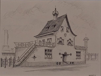 XXIII-124-41 Het dienstgebouw bij de ingang van de Diergaarde Blijdorp aan de Van Aerssenlaan.