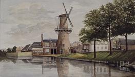 XXIII-149-01-1 Gezicht op de Schiedamse Vest uit het zuiden, in het midden molen De Arend.
