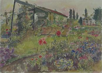 XXIII-169-11-02 Nu verdwenen volkstuinen. Houten huisjes tussen bloemen.