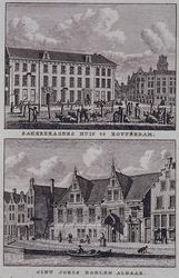 XXIII-3 Gezicht op de Sint Joris Doele aan het Haagseveer uit het noorden, en gezicht op het Zakkendragershuis.