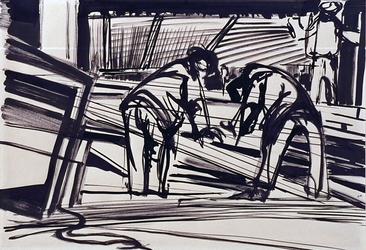 XXIII-47-29 Arbeiders zijn bezig de planken af te meten op het bouwwerk van het concertgebouw aan het Weena.