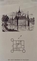 XXIX-24 Het slot Honingen aan het park Honingen, met de plattegrond van het slot.