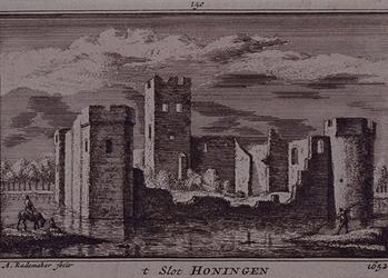 XXIX-28 Gezicht op de ruïne van het slot Honingen.