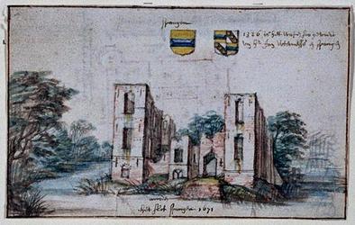 XXIX-52-01 Het slot spangen 1671 ruïne van het slot Spangen, uit het noorden aan de achterzijde de plattegrond van het ...