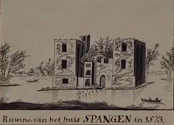 XXIX-56 De ruïne van het huis te Spangen anno 1573.
