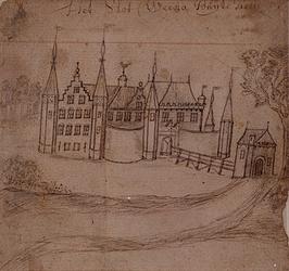 XXIX-63 Gefantaseerde voorstelling van het slot Weena buiten Rotterdam omstreeks 1400.