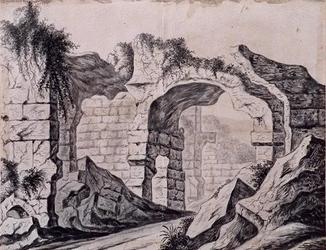 XXIX-64-1 Gefantaseerde voorstelling van de ruïne van het Hof van Weena aan de oostzijde.