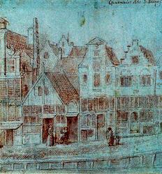 XXV-108 Quakernaat 1661 Rij huizen aan de Botersloot.