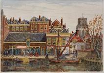 XXV-156-00-03 Huizen aan de Coolvest, met op de achtergrond rechts de Laurenstoren.