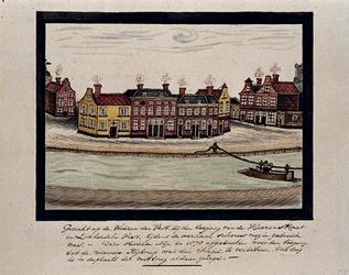 XXV-215-2 Gezicht op de Goudsevest, bij de Heerenstraat. Rechts het zogenoemde overhaalschouwtje.