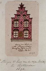 XXV-252-1 Voorgevel van het huis De Zon aan de Grote Markt, 2de huis vanaf de Wijde Marktsteeg.2 tekeningen op één ...