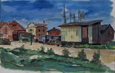 XXV-285-03 Gezicht op de gemeentelijke handelsinrichtingen bij de Binnenhaven, met het atelier van de schilder/etser ...