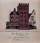 XXV-333-1 Detail van het huis Engelenburg in 1772 op de Hoogstraat.2 tekeningen op één karton: XXV 333-1 en -2