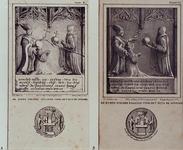 XXV-335-EN-336 Gevelsteen van het huis De Spieghel aan de Hoogstraat.Afb. A: XXV 335 en afb. B: XXV 336