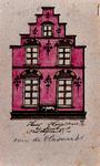 XXV-340 Bovenstuk van de gevel van een huis aan de Hoogstraat.3 tekeningen op één karton: XXV 339, XXV 340 en XXV 454