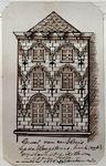 XXV-341 Topgevel van een huis op de Hoogstraat, hoek van de Wasboomsteeg.2 tekeningen op één karton: XXV 341en XXV 342
