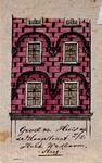XXV-342 Detail van een huis op de Hoogstraat, hoek van de Wasboomsteeg.2 tekeningen op één karton: XXV 341en XXV 342