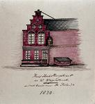 XXV-343 Voorgevel van een huis op de Hoogstraat, hoek van de Westewagenstraat, met beeld van Sint Pieter.3 tekeningen ...