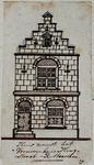XXV-345 Voorgevel van een huis in de Hoogstraat noordzijde, naast het Vrouwenhuis.3 tekeningen op één karton: XXV 343, ...