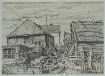 XXV-36-00-01 Achterzijde van huizen aan de Bergse Linker Rottekade nummers 222 en 223, uit het zuiden.