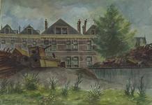XXV-361-01-01 Huizen aan de Katendrechtselaan, hoek de Katendrechtsestraat, uit het noorden. Op de voorgrond oorlogsschroot.