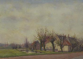 XXV-373-26 Gezicht op de Overschiese Kleiweg, huisjes tussen Bovendijk en Xerxesweg, uit het zuiden.