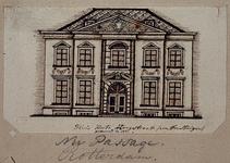 XXV-377-2 Voorgevel van een huis in de Korte Hoogstraat.3 tekeningen op één karton: XXV 377-1, -2, -3