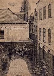 XXV-393-10-01 Gezicht in de tuin van het huis, Kruiskade nummer 41 (tussen Ammanstraat en Kruisstraat) met daarachter ...