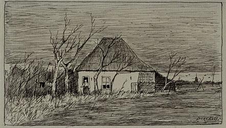 XXV-40 Gezicht op een boerderij aan de Beukelsdijk.(2 tekeningen op één karton: XXV 40 en XXV 41)