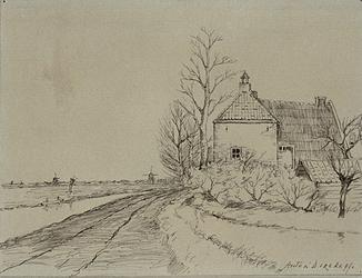 XXV-41 Gezicht op een boerderij aan de Beukelsdijk.(2 tekeningen op één karton: XXV 40 en XXV 41)