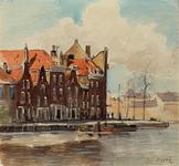 XXV-433-02 Gezicht op de huizen aan de Linker Rottekade, hoek van de Gedempte Karnemelkshaven, uit het noorden. Op de ...