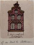 XXV-435-1 Voorgevel van het huis De Gouden Voet in de Lombardstraat nummer 72.2 tekeningen op één karton: XXV 435-1 en -2.
