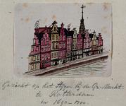 XXV-451-1 Gezicht op de Middensteiger bij de Grote Markt met op de achtergrond de toren van het stadhuis.3 tekeningen ...