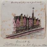 XXV-451-2 Gezicht op de Middensteiger bij de Grote Markt met op de achtergrond de toren van het stadhuis.3 tekeningen ...