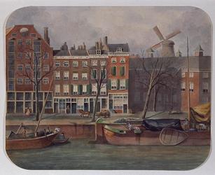 XXV-460 Gezicht op de noordzijde van de Nieuwehaven nummers 17-25, uit het zuiden.In dorso: Het hoekhuis waar ik ...