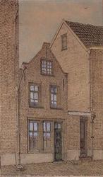 XXV-517 Gezicht op een huisje in de Papensteeg. Beneden een kleine kamer met een ouderwetse stookplaats en een trap ...