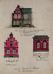 XXV-537-2 1 tekening met 3 afbeeldingen:- Recht onder: gedeelte van een oude gevel op de Prinsenstraat noordzijde.- ...