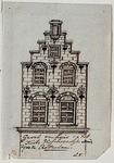 XXV-672 Voorgevel van een huis aan de noordzijde van de Vissersdijk, bij de Zeevismarkt.3 tekeningen op één karton: XXV ...