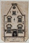 XXV-674 Voorgevel van een huis aan de Vissersdijk, westhoek Zijlsteeg.3 tekeningen op één karton: XXV 672, 673 en 674.