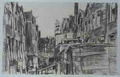 XXV-74-00-03 Binnenterrein en achterzijde van huizen aan de Bloemstraat en de Zijdewindestraat, vanaf het Weena, uit ...