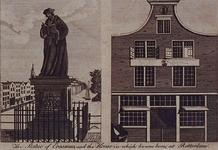 XXV-756 Standbeeld van Eramus op de Grotemarkt (rechts). Huisje van Erasmus (geboortehuis) in de Wijde Kerksteeg (links).