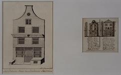 XXV-757 Links: de voorgevel van het geboortehuis van Desiderius Erasmus in de Wijde Kerksteeg. Rechts: twee kleine ...