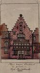 XXV-759-1 Voorgevel van een huis in de Wijde Kerksteeg (geboortehuis van Erasmus).2 tekeningen op één karton: XXV 759-1 ...