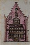 XXV-759-2 Voorgevel van een huis in de Wijde Kerksteeg (geboortehuis van Erasmus).2 tekeningen op één karton: XXV 759-1 ...