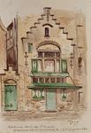 XXV-763 Gezicht op het geboortehuis van Erasmus aan de Wijde Kerksteeg.