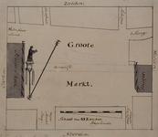 XXVI-4 Situatieschets voor de verplaatsing van het standbeeld van Erasmus in 1752, tijdens de herstelwerkzaamheden aan ...
