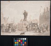 XXVI-5 Markttafereel. In het midden het standbeeld van Erasmus, daarachter links de Steigersgracht, verderop overgaand ...