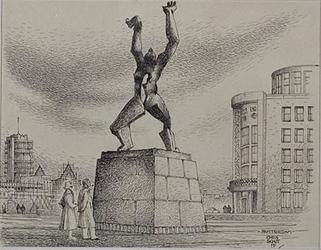 XXVI-63-01 Monument De verwoeste stad aan de Leuvehaven - Plein 1940, gezien uit het zuidwesten.